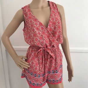 Bebop coral pink and blue romper NWT